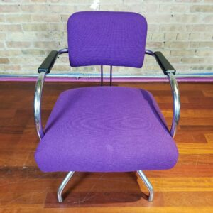 Pictured, Purple Chrome-Frame Armchair, among the vintage rental furniture from Catalyst Ranch