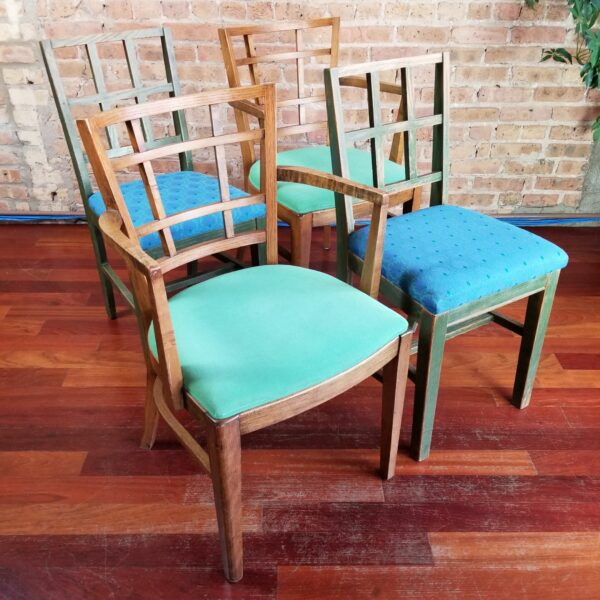 Pictured four chairs including Pair of Window-Back Dining Armchairs with Green Seat for rent as a pair