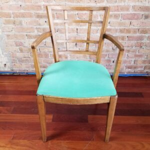 Window-Back Dining Armchair with Green Seat for rent