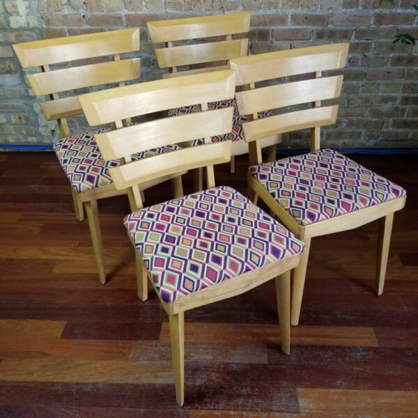 Pictured, Set of Four Diamond Pattern Wooden Dining Chairs, to be rented in pairs, among the vintage rental furniture available from Catalyst Ranch
