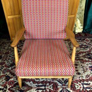Pictured, Tangy triangle pattern comfy armchair, among the vintage rental furniture available from Catalyst Ranch
