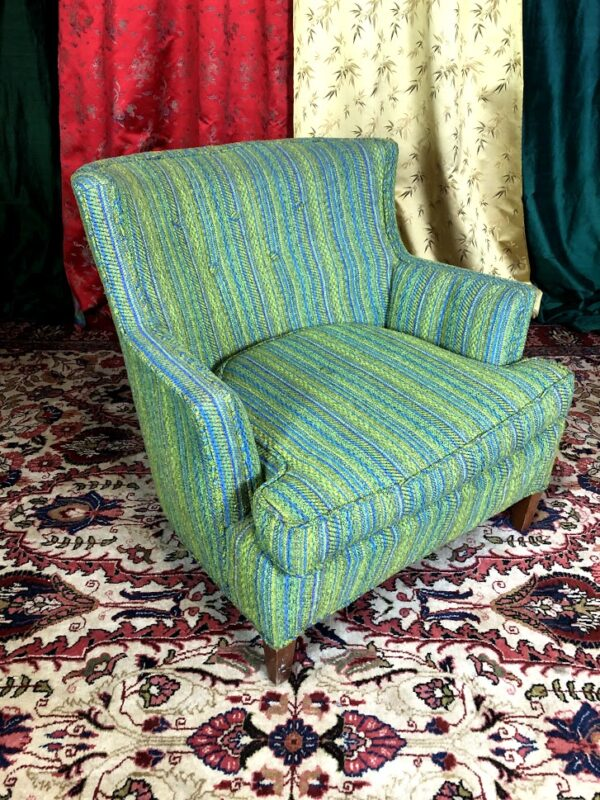 Pictured, Sea Green Tweed Armchair, among the vintage rental furniture available from Catalyst Ranch