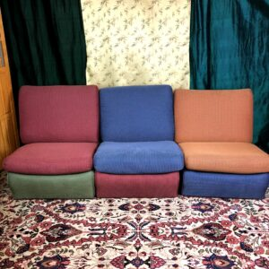 Pictured, Trio of color block plush cushion low chairs, rented as a set, among the vintage rental furniture available from Catalyst Ranch
