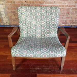Pictured, Green Mandala Pattern Low Armchair, among the vintage rental furniture from Catalyst Ranch