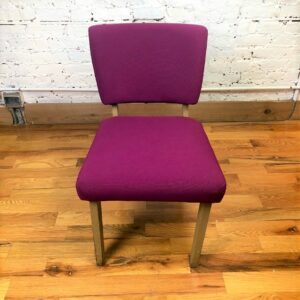 Pictured, Magenta Woven Fabric Low Chair (one of a pair), among the vintage rental furniture from Catalyst Ranch