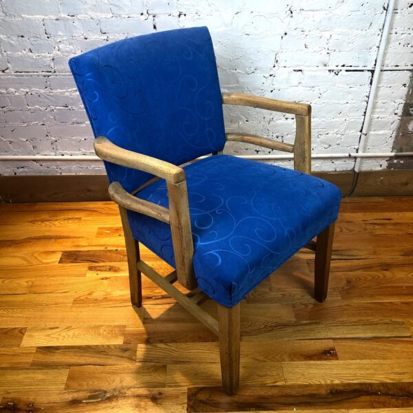 Pictured, Beautiful Swirly Blue pattern fabric Armchair, among the vintage rental furniture available from Catalyst Ranch