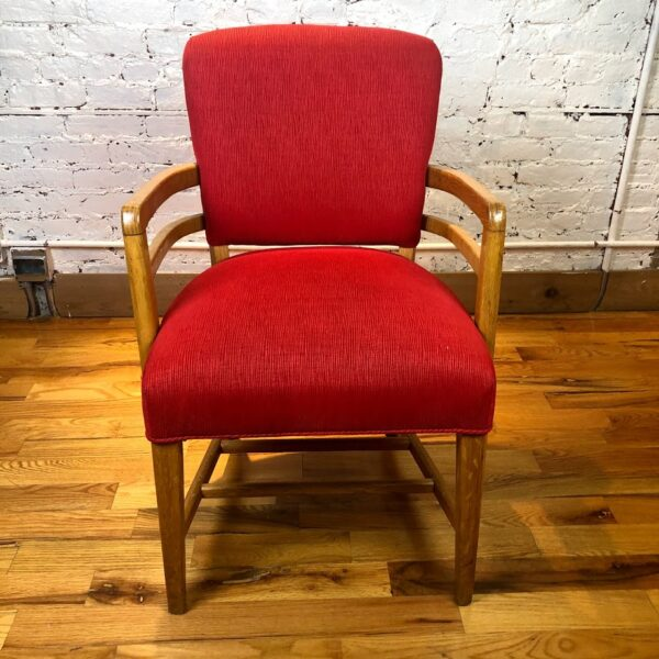 Pictured, Red Texture Fabric Armchair, among the vintage rental furniture available from Catalyst Ranch