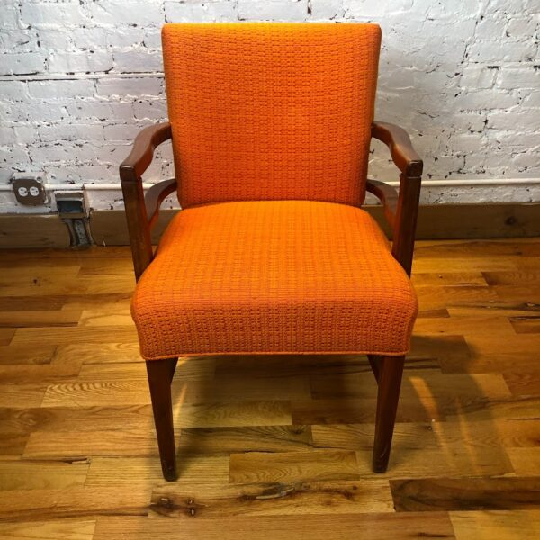 Pictured, Butternut Tweed Armchair, among the vintage rental furniture available from Catalyst Ranch
