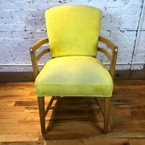 Pictured, Lemon Fabric Armchair, among the vintage rental furniture available from Catalyst Ranch