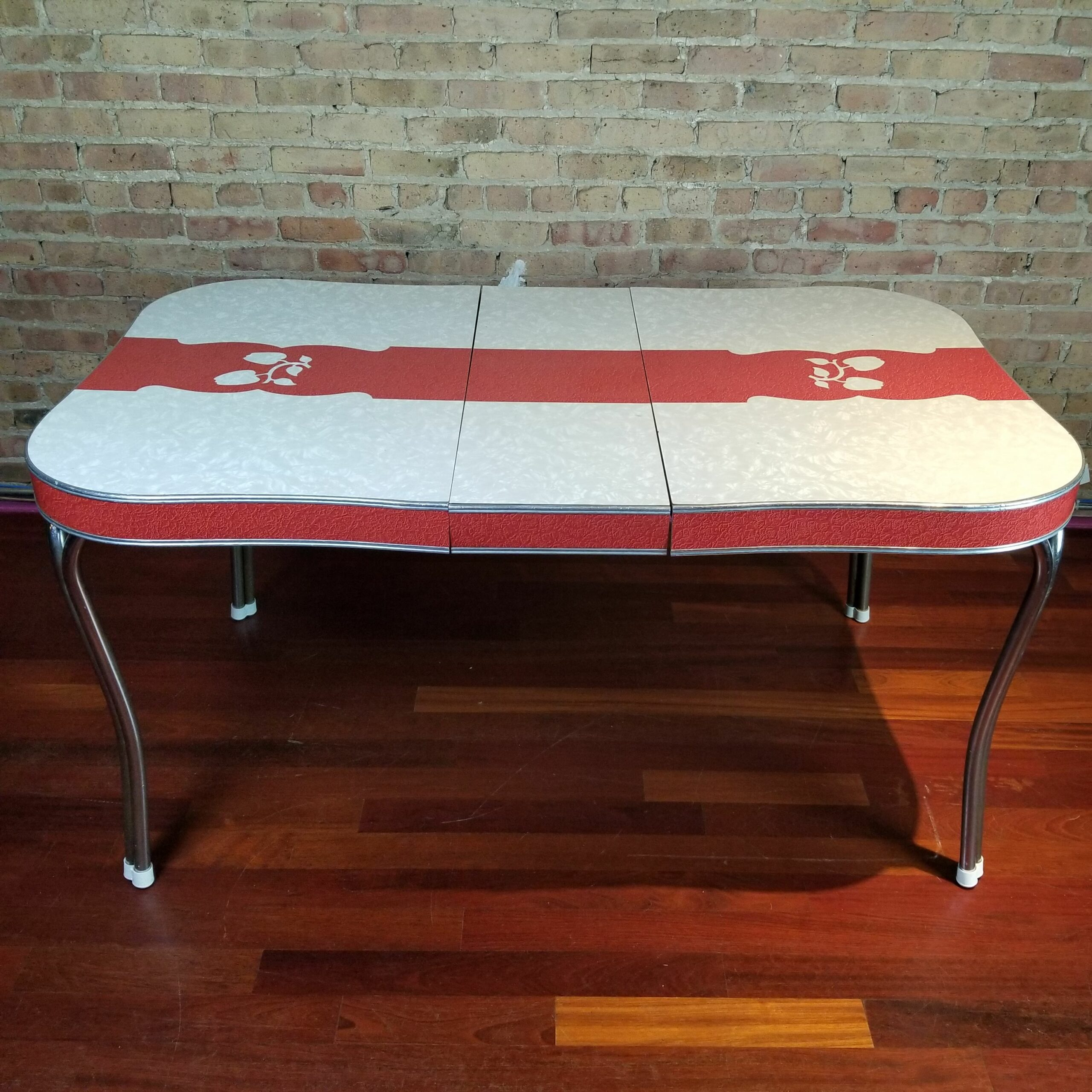 Formica Dining Table with Red Stripe and Apple Details