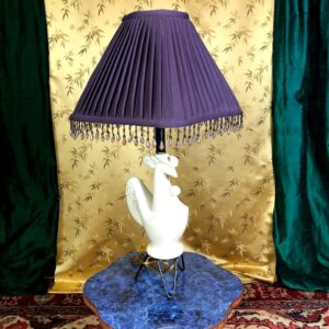 Pictured, Violet Shade Ceramic Chicken Base Lamp, among the vintage rental furniture available from Catalyst Ranch