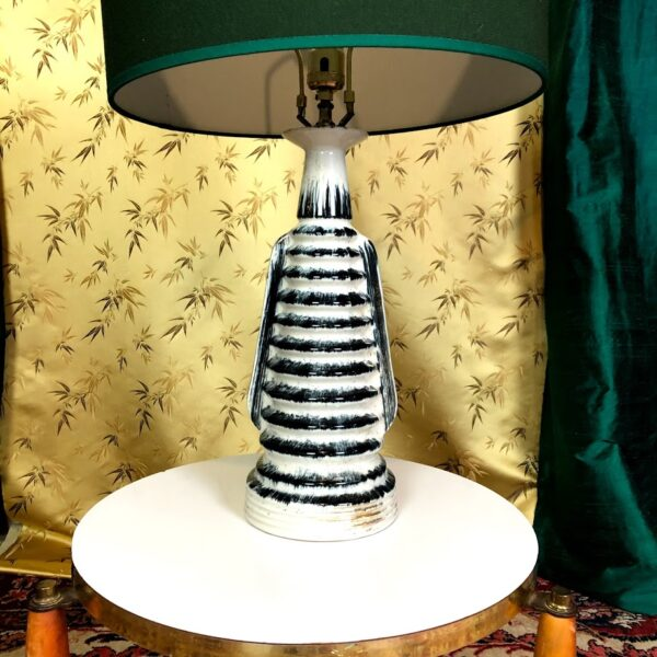 Pictured, Large Black and Stripe Table Lamp base, among the vintage rental furniture available from Catalyst Ranch