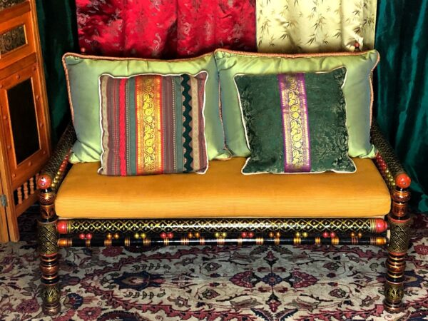 indian wood frame loveseat, among the ethnic rental furniture from Catalyst Ranch