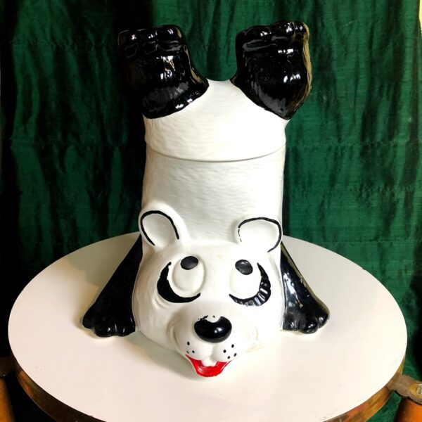 Pictured, happy panda bear shaped cookie jar, available for event rental