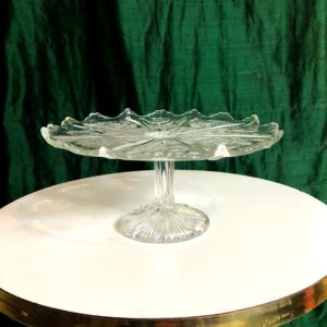 Pictured, vintage glass cake stand available for event rental