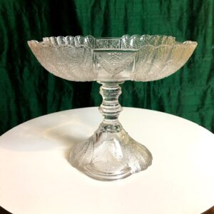 Pictured, vintage glass dessert stand available for special event rental