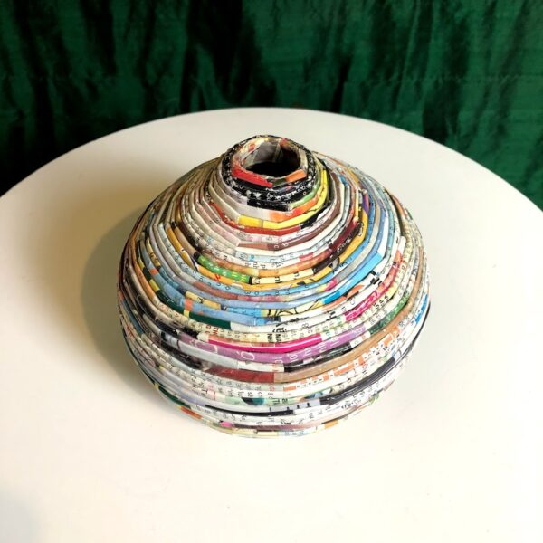 handmade colorful rolled paper vase for rent
