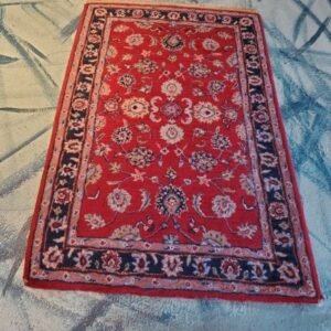 Pictured, red Persian rug with blue border, among the vintage furniture of Catalyst Ranch